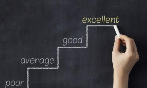 chalkboard with yellow steps up saying poor average good and excellent with a man in a business suit pointing to excellent