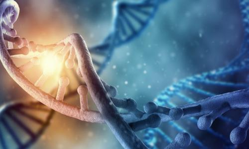 Blue picture of DNA with a brightly glowing section representing ethics