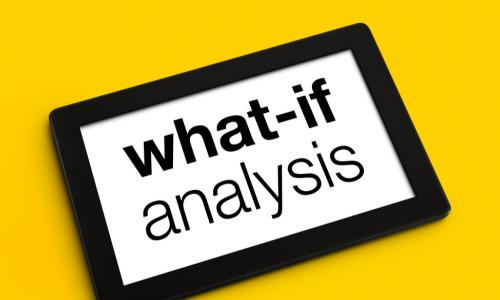 sign that says what-if analysis on a yellow background