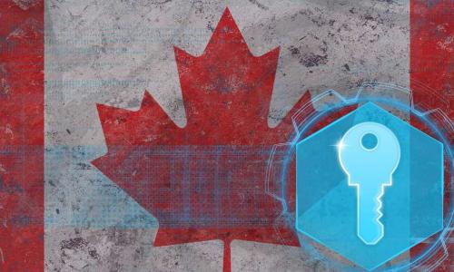 electronic lock on canadian flag background