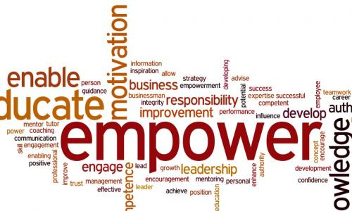 Word cloud featuring empower and educate to describe learning plans