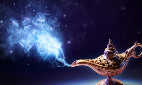 smoke pouring out of a magic genie lamp