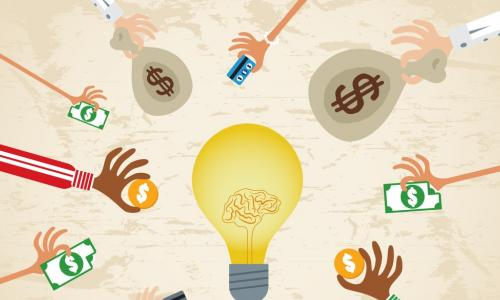 illustration of lots of hands involved in lending with a strategy and idea light bulb in the middle