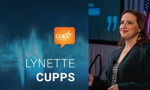 CUES podcast logo and image of guest Lynette