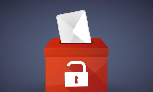 illustration of ballot box with lock on it