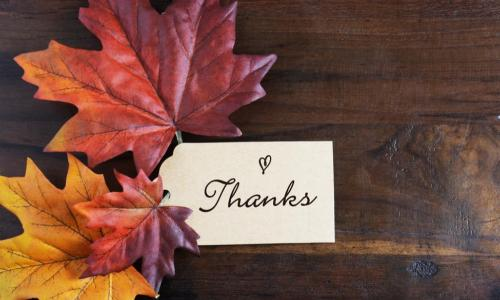 Thanksgiving leaves and note card