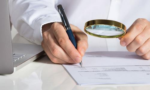 person examining documentation with a brass magnifying glass