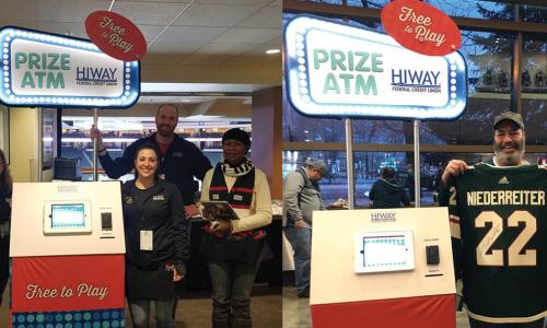 Two photos show the Hiway Federal Credit Union automated prize machine with credit union staff and a winner with a prize hockey jersey.