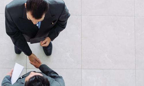 overhead view of two businessmen shaking hands in agreement