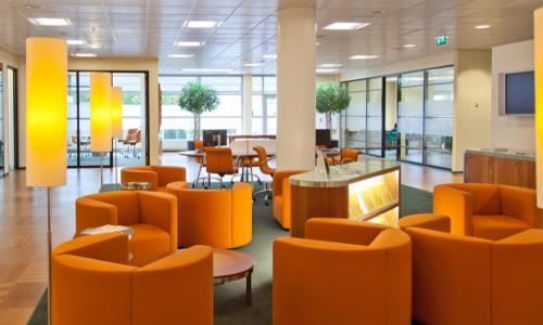 attractive branch lobby or office with welcoming orange seating