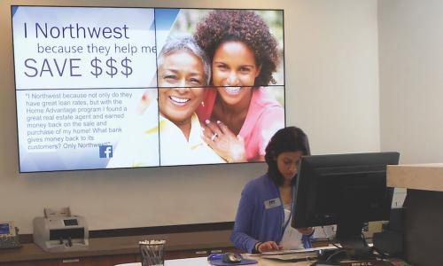 A digital sign provides a vibrant and engaging focal point at Northwest FCU in Herndon Virginia