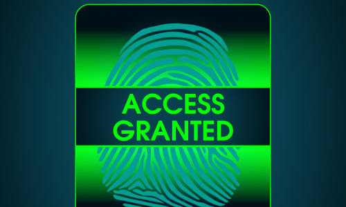 green thumbprint scanner reading access granted