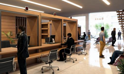 3D rendering of an attractive bank branch lobby and teller booths