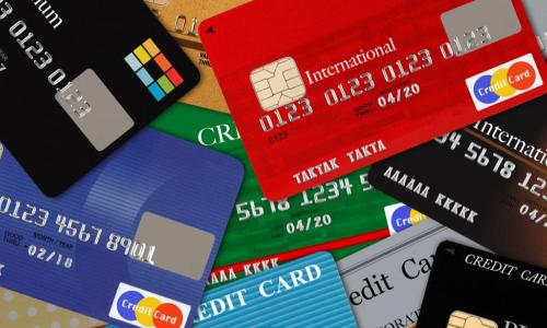 array of colorful credit and debit cards