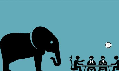 illustration of an elephant in a boardroom