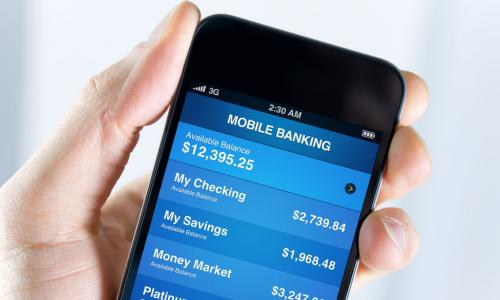 mobile banking app on phone