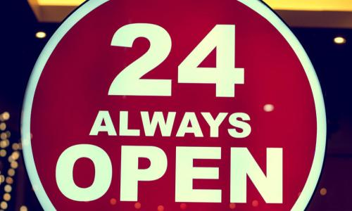 shop sign says 24 always open