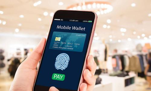 person in clothing store holding smartphone with mobile wallet and fingerprint scan
