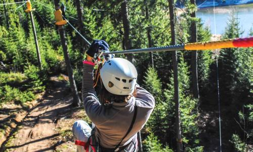 woman riding down zip line over pine trees