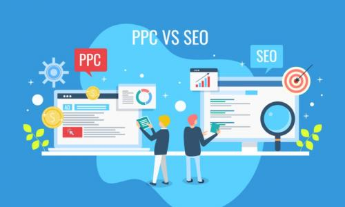 graphic comparing PPC pay per click advertising with SEO search engine optimization