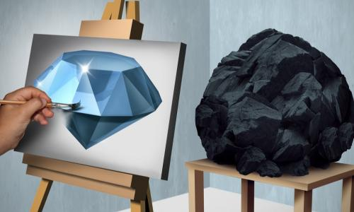 painting a diamond while looking at a rock model