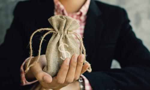 female executive with burlap bag with money symbol in her hand