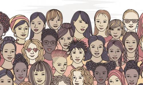 a variety of female faces from all over the world shows a diverse group of hand drawn women