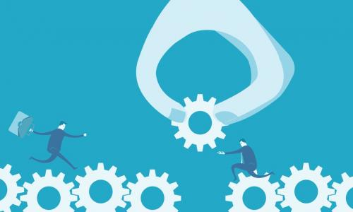 illustration of claw adding a gear to a gap in a row of gears supporting business people