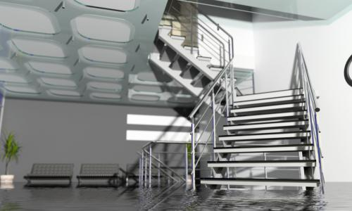 flooded modern branch office interior with metal stairs