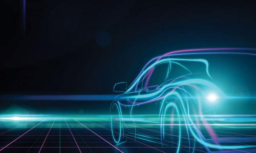 digital image of a car generated by blue and purple lines of light