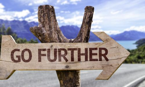wooden sign along the road that says go further