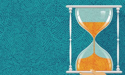 mosaic illustration of hourglass with sand falling