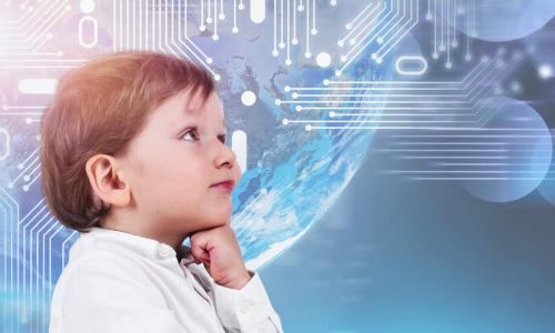 adorable little boy thinking on a technology background