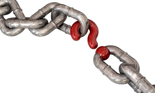chain with a red question mark in place of one link