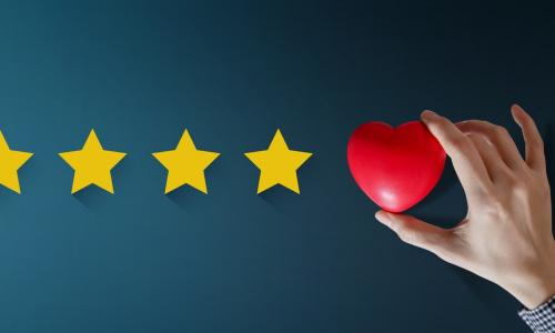 five star experience rating with the fifth star actually being a heart