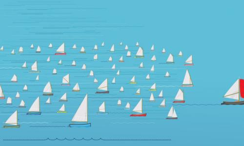 red sailboat ahead of a pack of sailboats