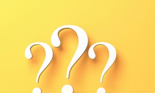 Three yellow question marks on a yellow background