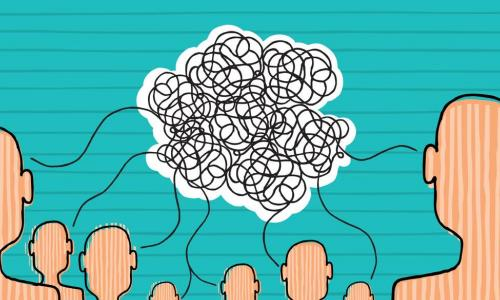 illustration of people talking represented by squiggly lines from each to a cloud