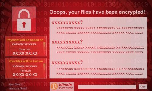 mockup of a red ransomware screen demanding bitcoin payment to decrypt files