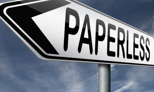 arrow sign pointing to paperless concept