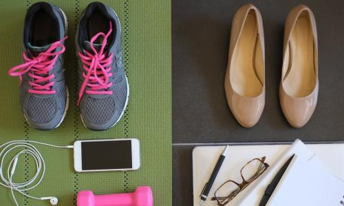 workout gear arranged on a green athletic mat next to beige high heel pumps with work notebooks and laptop
