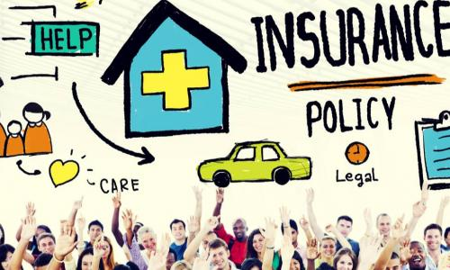 group of people raising hands under illustration of insurance policy