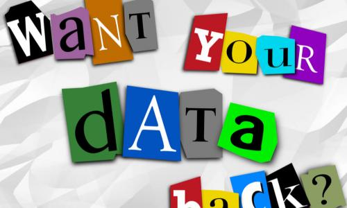 "ransom note for data that says ""Want your data back?"