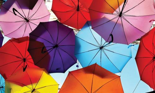 many brightly colored umbrellas