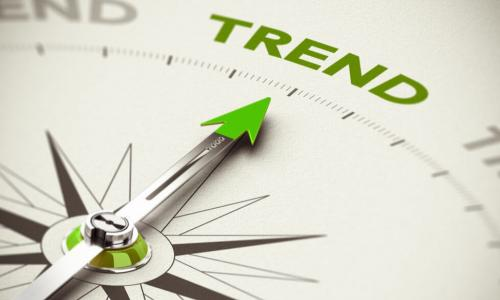 green compass arrow pointing to the word trend