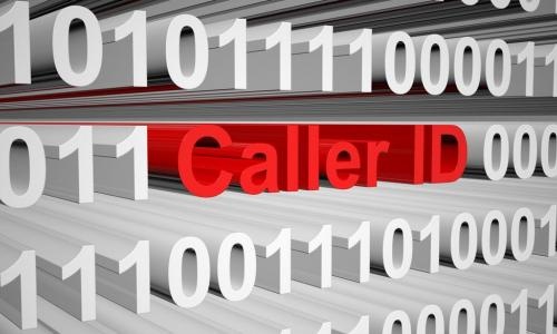 white binary code with red letters spelling out caller ID