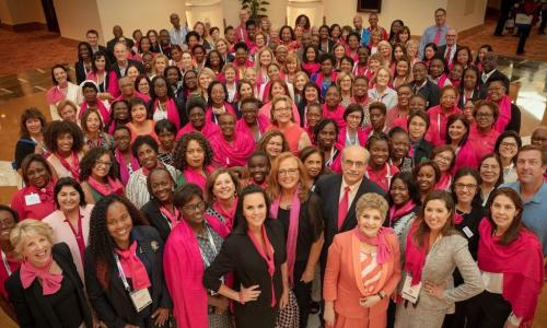 Members of the GWLN wear pink to support women around the globe