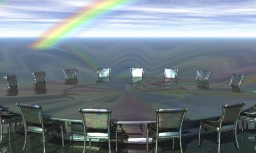 digital roundtable with rainbow behind it