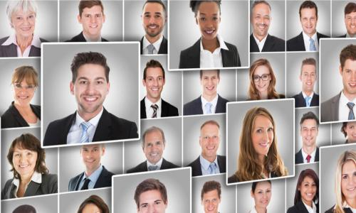 collage of smiling business people