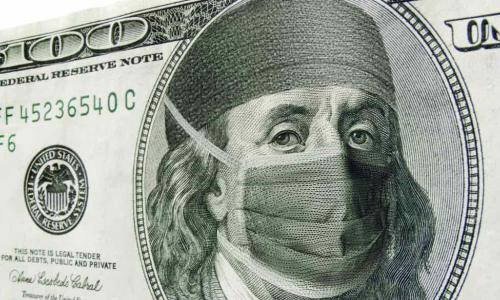 100 dollar bill with Ben Franklin in a surgical mask